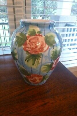 Multi-color Floral Decorative Porcelain Vase Made in Italy Hand Painted