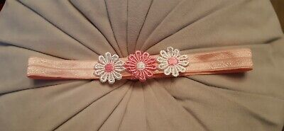 Babies/girls  pink  Headband with 3  matching flowers