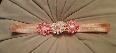 Babies/girls  pink Headband with matching 3 pink and white flowers