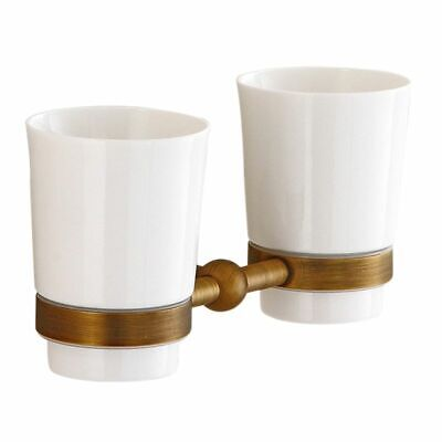 Double Cup Brass Bathroom Holder Fashion Family Toothbrush Toilet Holders Set