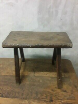 Antique Welsh Rustic Elm Stool