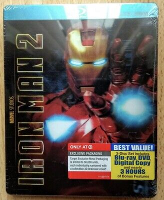 Iron Man 2 3D/Lenticular Bluray 3Disc Metalpak/Steelbook Target 2011 Rare+Sealed