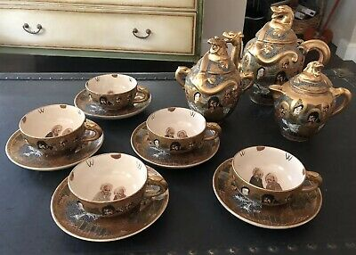 "Antique Japanese ""Sarashina"" Satsuma Moriage Dragon Ware Immortals 16 Pc Tea Set"