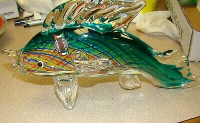 """HAND BLOWN FISH UNIQUE ART GLASS COLLECTION  Murano 11"""" LONG 2"""" WIDE"""