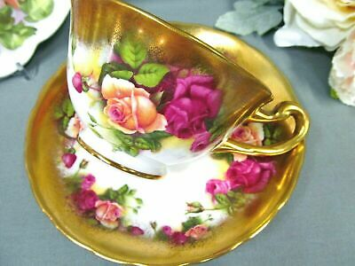 ROYAL CHELSEA tea cup and saucer red Rose pattern thick gold teacup red gold