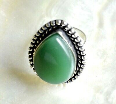 Green Onyx Gemstone 925 Sterling Silver Plated Ethnic Antique Adjustable Ring