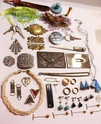 """42 Eclectic Items In This """"Antique & Vintage Jewelry And More"""" Junk Drawer Lot!"""