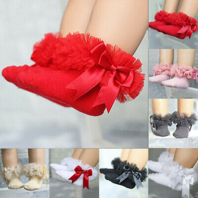 Frilly Lace Ankle Baby Kids Ruffle Princess Socks Infant Bowknot Trim Girls Sock