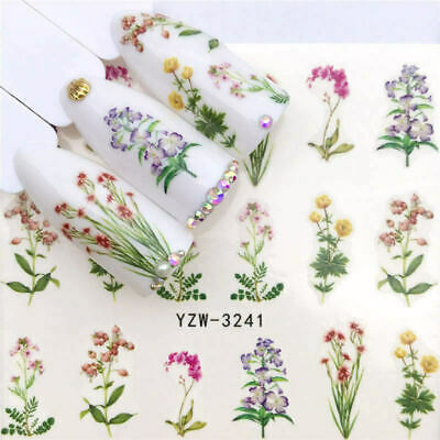 3D Flower Nail Decals Decoration Art Stickers Tips Manicure Transfer 1 Sheets