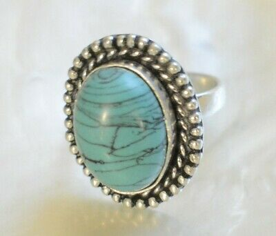 Turquoise Handmade Gemstone 925 Sterling Silver Plated Ethnic Adjustable Ring