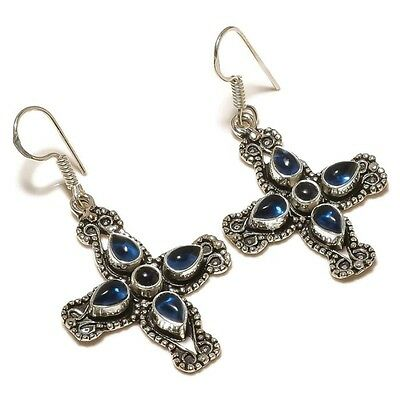 Stunning Iolite Pear Circle Gems silver plated Handmade Cross Elegant Earrings