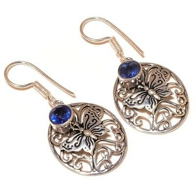Stunning Iolite Cut Gemstone silver plated Handmade Butterfly Dangle Earrings