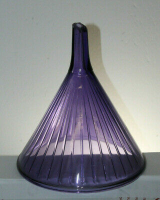 Large Antique Purple Glass Vintage Pharmacy Apothecary Druggist Funnel