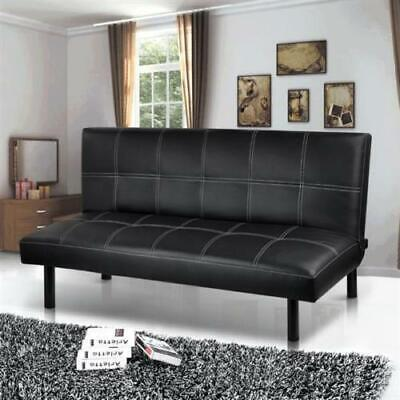 Modern PU Leather 3 Seater Sofa Bed Click-Clack Sofa Wooden Couch Settee Sofabed