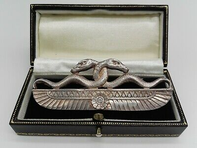Hallmarked Silver Art Deco Egyptian Revival Style Double Headed Snake Brooch SMJ