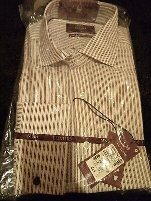Marks And Spencer Luxury Collection Shirt White Mix 15.5 /39-40cm BNWT Shirt