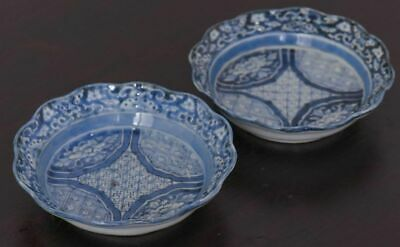 Japanese antique Old Imari Edo period dyed dish set of 2 Japanese tableware