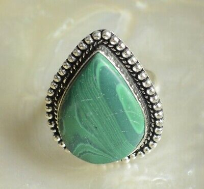 Malachite Gemstone 925 Sterling Silver Plated Ethnic Handmade Adjustable Ring