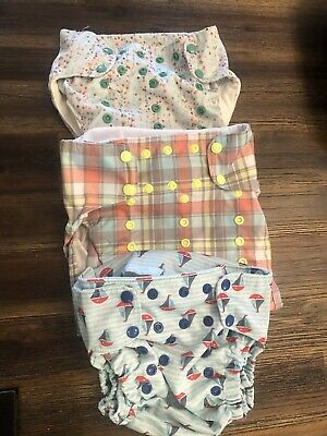 Smart Bottoms 3.1 Lot Of 3 Organic Cloth Diapers Pre-Washed