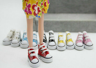 1/6 Cute Lace Up Canvas Shoes Fits 12 inch  Doll Shoes Red IO