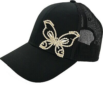 Women's Trucker Hat Large Rhinestone Butterfly Bling Mesh Back Adjustable New