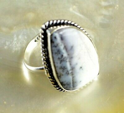 Natural Dendrite Opal Gemstone 925 Sterling Silver Plated Ethnic Ring