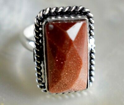 Natural Red Sunstone Gemstone 925 Sterling Silver Plated Ethnic Ring