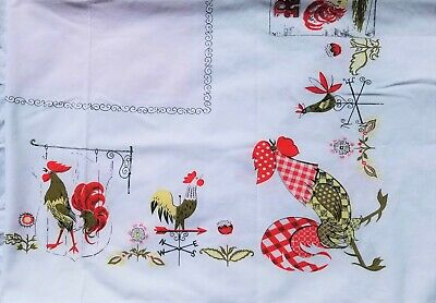 Vintage Rooster Country Tablecloth Red Gingham Chicken Pink Scroll Center 52x46