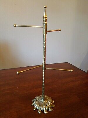Vintage Glo-Mar Artworks Brass Finish 4 Swing Arm Towel Holder or Jewelry Stand