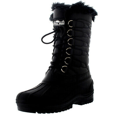 Womens Mid Calf Thermal Rain Muck Faux Fur Waterproof Quilted Nylon Boot US 5-12