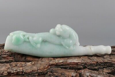 Chinese Exquisite Hand-carved beast Carving jadeite jade Cigarette holder