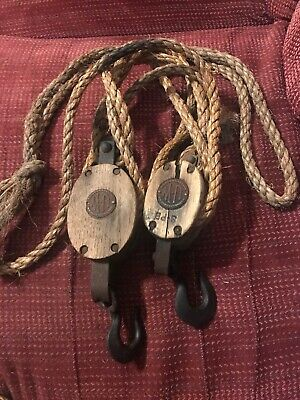 Vintage Barn Block & Tackle Double & Single Pulley W/Ropes