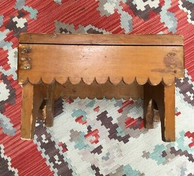 AAFA Primitive Antique Maine Four Legged Wood Foot Stool