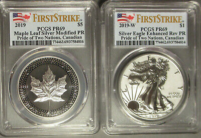 2019 Pride Two Nations Silver Eagle Maple Leaf Canadian PCGS PR 69 First Strike