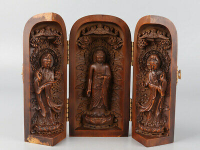 Chinese Exquisite Hand-carved Buddha Guanyin Carving Boxwood screen