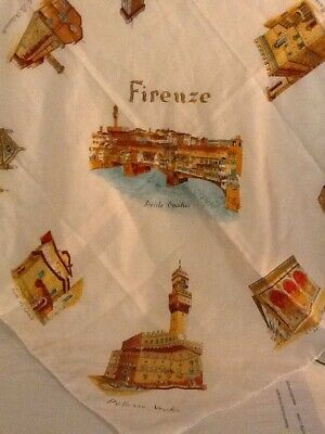 Vintage Souvenir Scarf Of Firenze Florence Made In Italy