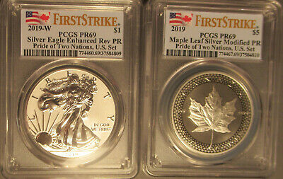 2019 Pride Two Nations Silver Eagle Maple Leaf USA Set PCGS PR 69 First Strike