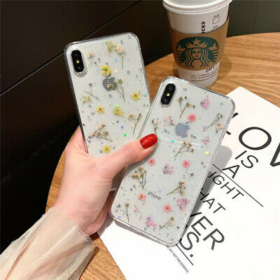 For iPhone 7 8 Plus XS Max XR Luxury Dried Flower Soft Clear Glitter Case Cover