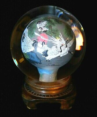 """Vintage Chinese Reverse Hand Painted Cranes Art Glass Sphere Paperweight 13 1/2"""""""