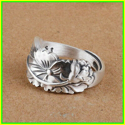 Rings Women 925 sterling silver Ethnic Style Lotus Adjustable Elegant Jewelry