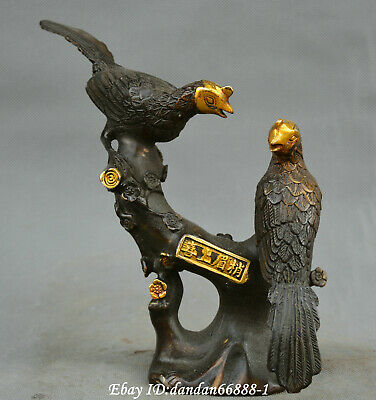 China fengshui old Bronze pied magpie look very happy Shuang xi ling men Statue