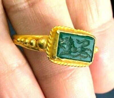 Ancient Green Agate Roman Knight Horse Intaglio 22K SOLID Gold Leaf Design Ring