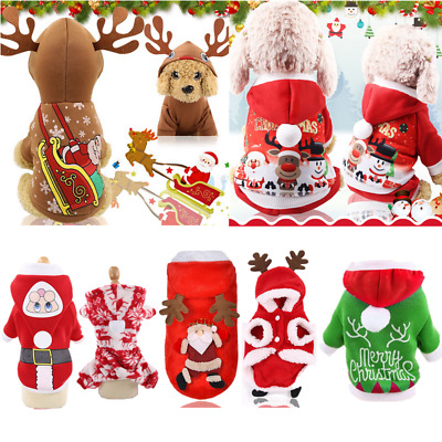 Christmas Elk Cosplay Pet Puppy Warm Clothe Dog Cat Hooded Sweater Party Costume