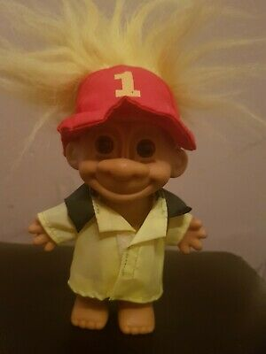 Russ Troll Fireman Retro Vintage Collectable 90s Toy Yellow Hair