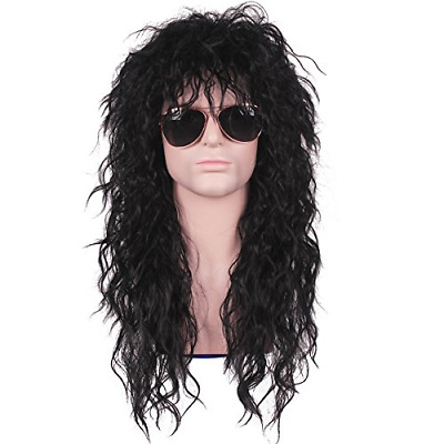 ColorGround Long Curly 80s Men Fashion Smart Rocker Style Wig