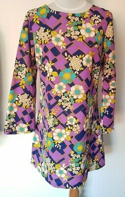 1970's Vintage Purple Blue White Floral Retro Flared Long Slv Trapeze Dress sz14