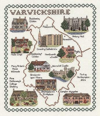 Map & Sights of Warwickshire - Classic 14ct Counted Cross Stitch Kit