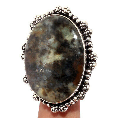 ZJ1950 Multi Moss Agate 925 Sterling Silver Plated Ring US 10