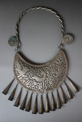Chinese Ethnic Miao Silver Handmade Carve Lion Kirin Necklace