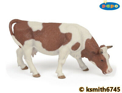 Papo GRAZING SIMMENTAL COW solid plastic toy farm pet brown animal NEW 💥